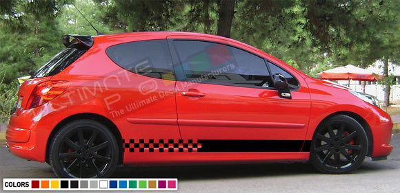 Decal Sticker Side Racing Stripes Compatible with Peugeot 207 2010-Present