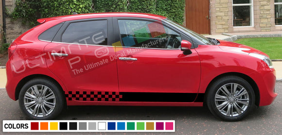 Decal Sticker Side Racing Stripes Compatible with Suzuki Baleno 2008-Present