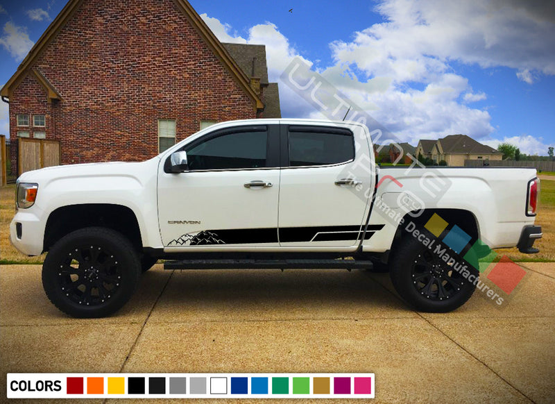Decal Sticker Off-Road Mountain Stripes Compatible with GMC Canyon 2014-Present