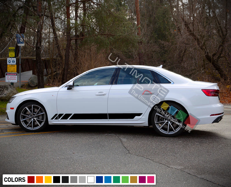 Decal Sticker Side Stripe Kit Compatible with Audi A4 2008-Present