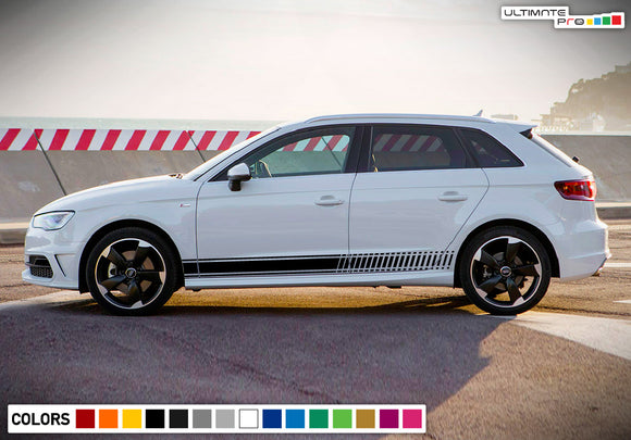 Decal Sticker Side Stripe Kit Compatible with Audi A3 2008-Present