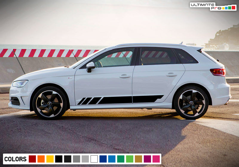 Decal Sticker Vinyl Side Sport Stripe Kit Compatible with Audi A3 2008-Present
