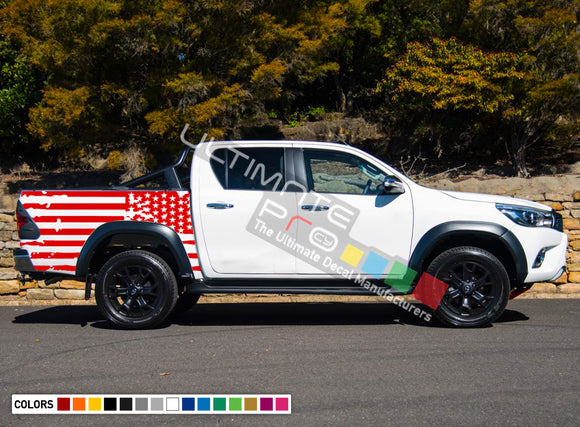 Decal Sticker Graphic Bed Destorder US Flag Kit Toyota Hilux