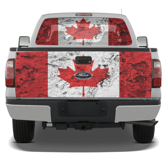 Decal Graphic Canada Flag Perforated window and Tailgate Compatible with Ford F250 2013-Present