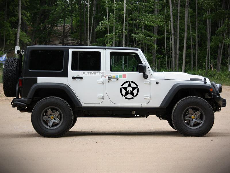 2x Stars Decal Side Punisher Skull Star Sticker Jeep Wrangler RUBICON Jk