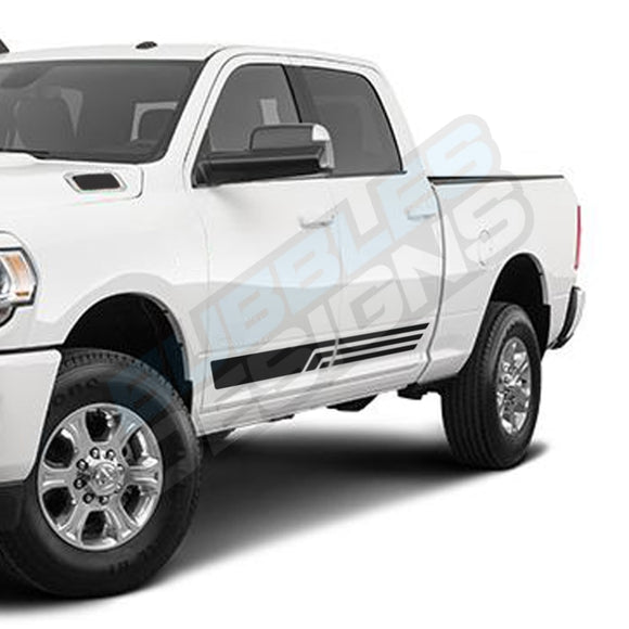 3 Line Stripes Side Door Decals Graphics Vinyl For Dodge Ram Crew Cab 3500 Bed 64 Black /