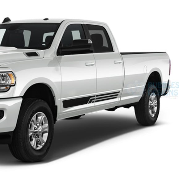 3 Lines Side Door Stripes Decals Graphics Vinyl For Dodge Ram Crew Cab 3500 Bed 8 Black /