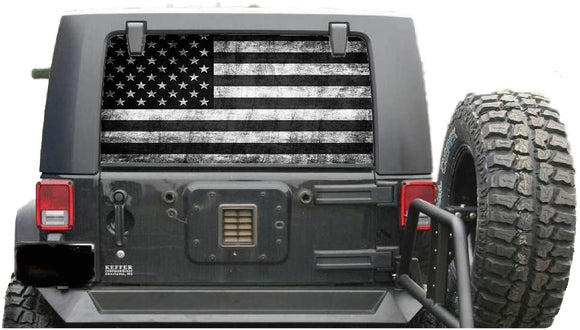 Flag USA Perforated for Jeep Wrangler JL, JK decals 2007 - Present