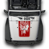 Hood Eagle-USA Stripes, Decals Compatible with Jeep Wrangler JK 2010-Present