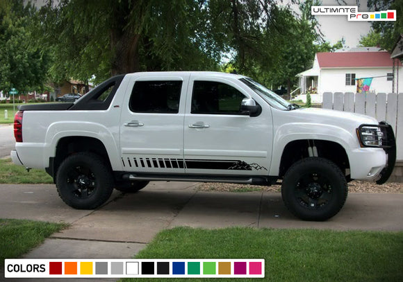 Side door mountains decals, vinyl design for Chevrolet Avalanche decal 2015 - Present
