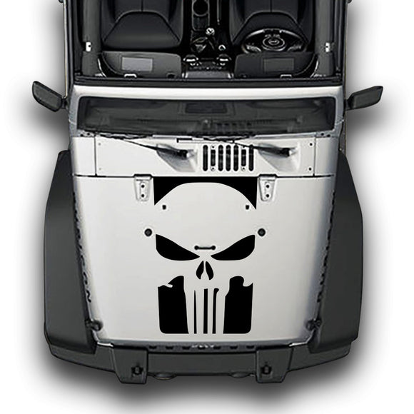 Hood Punisher Stripes, Decals Compatible with Jeep Wrangler JK 2010-Present