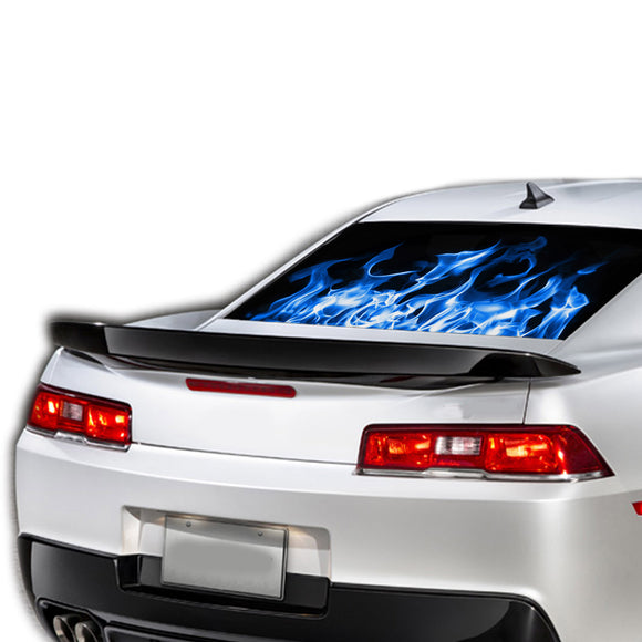 Blue Flames Perforated for Chevrolet Camaro decal 2015 - Present