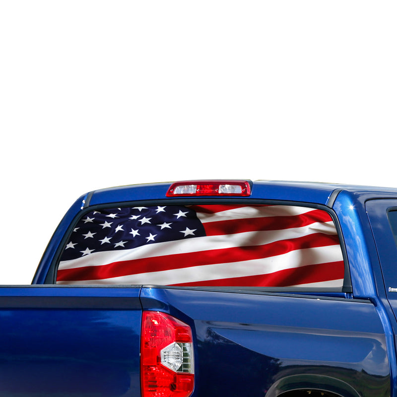 USA Flag Perforated for Toyota Tundra decal 2007 - Present