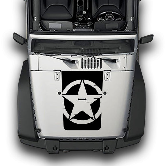 Hood Distorted Star Decals Compatible with Jeep Wrangler JK 2010-Present