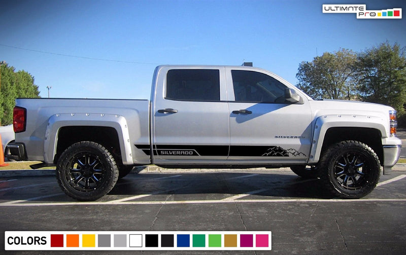 Decal Sticker Side Door Stripes for Chevrolet Silverado 4x4 Bed