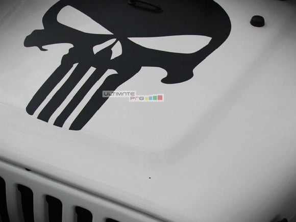 Decal Sticker Vinyl Hood Punisher Skull Jeep Wrangler JK Unlimited Rubicon Sahara Sport S