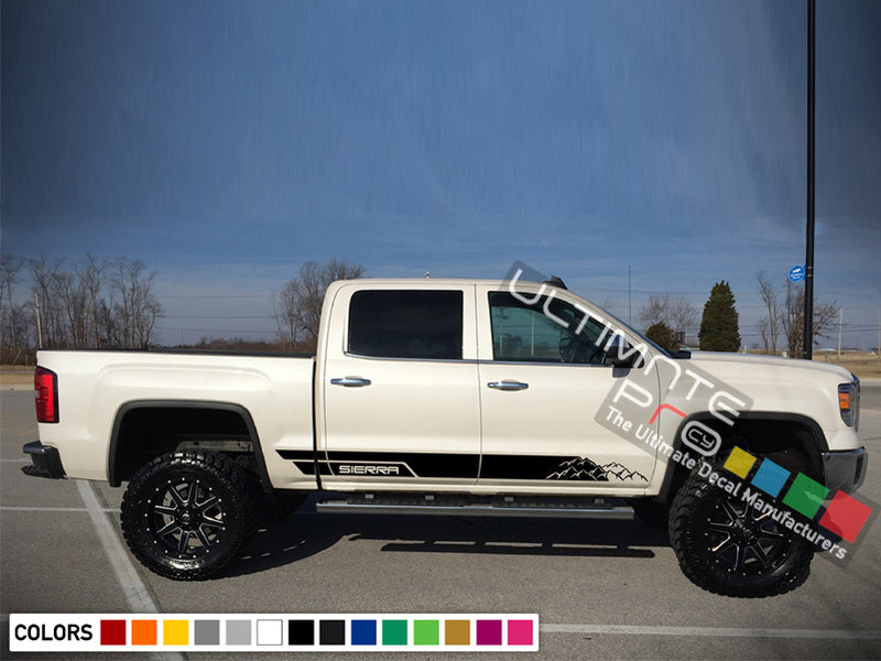 Decal Sticker Vinyl Side Mountains Stripe Kit GMC Sierra