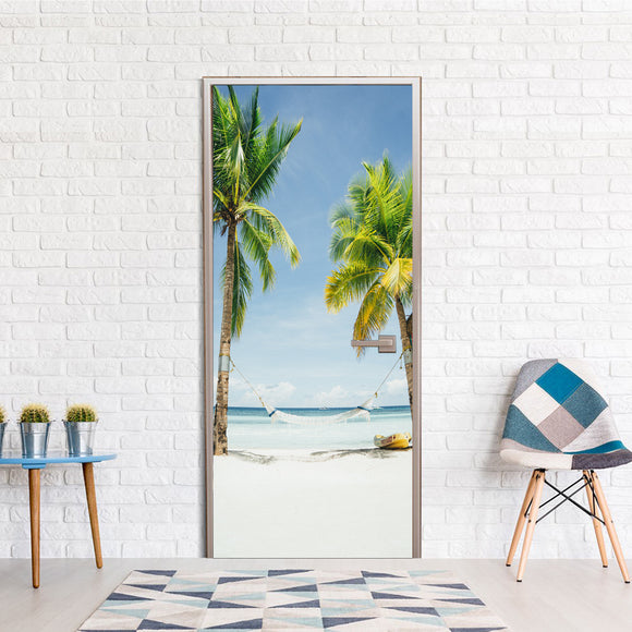 Design Ideas for Door Cover Exotic Beach Palms Vinyl printed Wallpaper