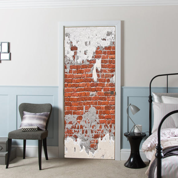 Door Cover with Decal Vinyl Old Brick Wall  printed Wallpaper