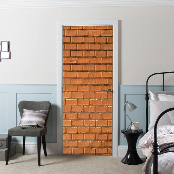 Door Cover with Decal Vinyl Wall Brick printed Wallpaper