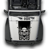 Hood Fire Skull Stripes, Decals Compatible with Jeep Wrangler JK 2010-Present