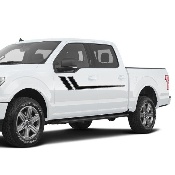 Decal Graphic Vinyl Upper Door Racing Stripe Kit Compatible with Ford F150 Series 2009-Present