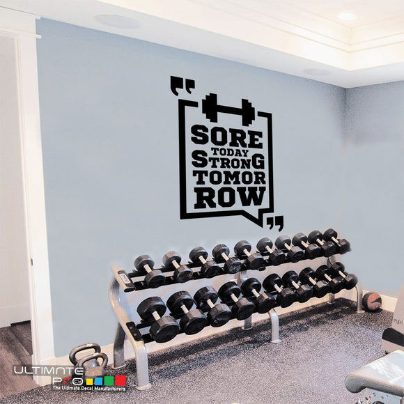 Gym wall Decals Quotes Sticker Motivation CrossFit Sore Today Strong