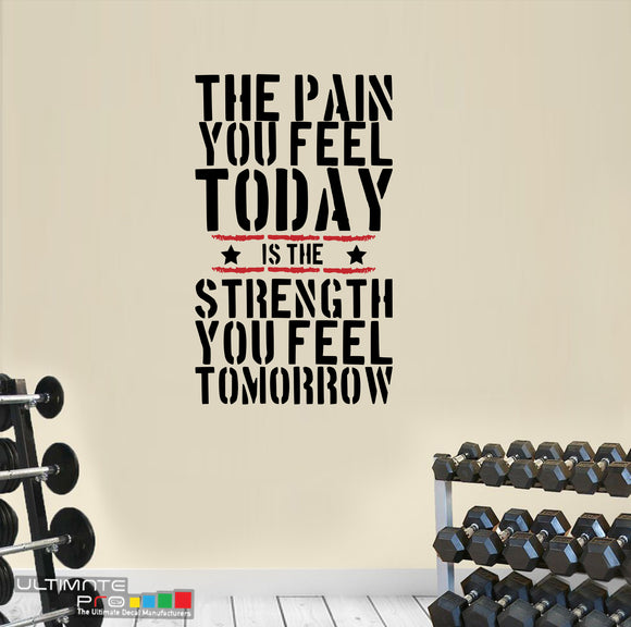 Decals quotes gym Sticker Motivation The Pain you Feel Today is the