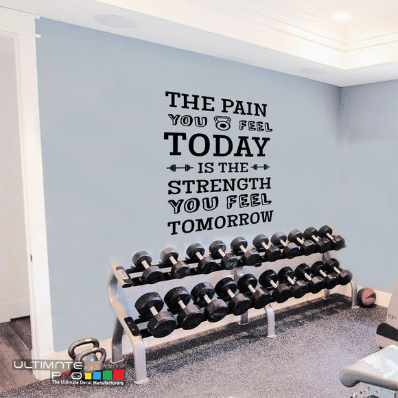 Decals quotes gym Sticker Motivation Today is the Strength you Feel