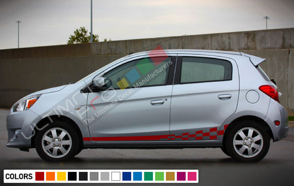 Decal Vinyl Wavy Side Racing Stripes For Mitsubishi Mirage 2005-Present