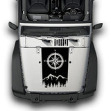 Hood Compass Stripes, Decals Compatible with Jeep Wrangler JK 2010-Present