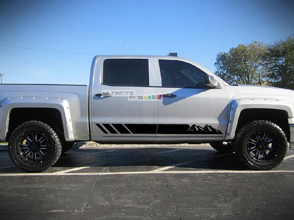 Off-Road Mountain Stripes Decal Graphic Vinyl Chevrolet Silverado 2014-2017