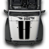 Hood Plain Stripes, Decals Compatible with Jeep Wrangler JK 2010-Present