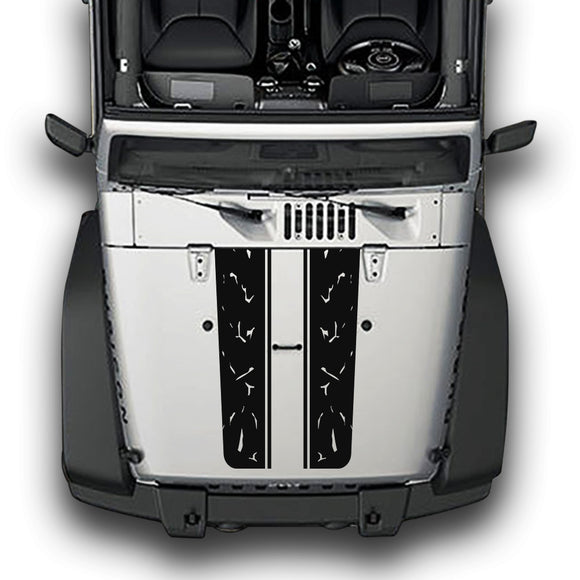 Hood Plain Distorted Line Compatible with Jeep Wrangler JK 2010-Present