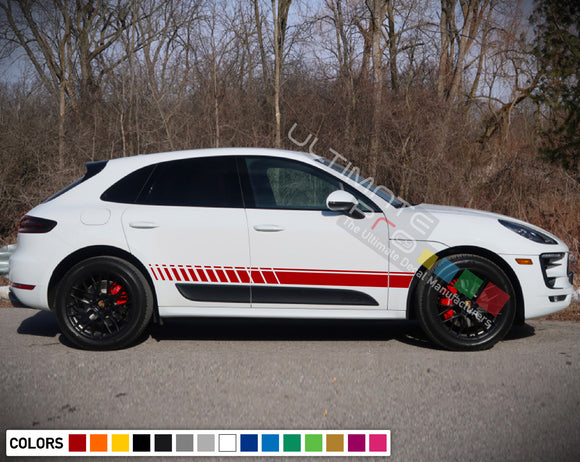 Decal Sticker Vinyl Side Sport Stripe Body Kit Compatible with Porsche Macan 2012-Present