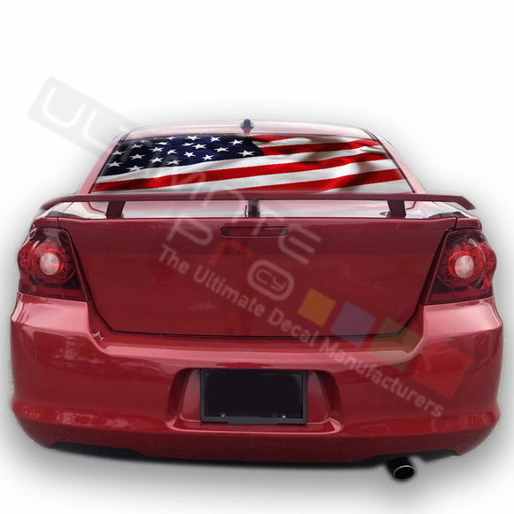 USA Flag graphics Perforated Decals Dodge Avenger 2007 - Present