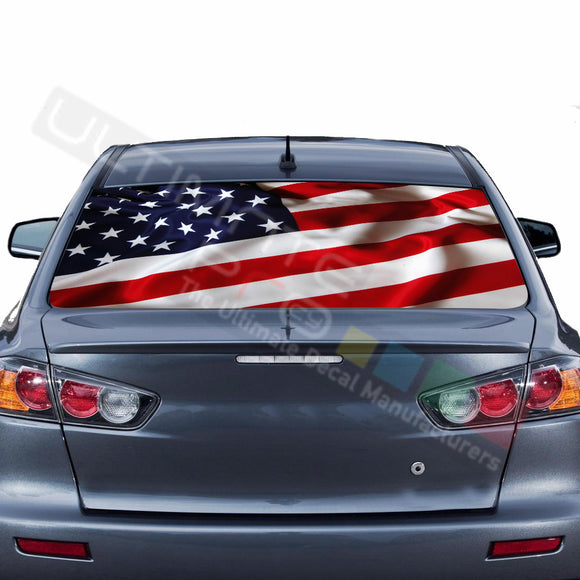USA Flag graphics Perforated Decals Mitsubishi Evolution
