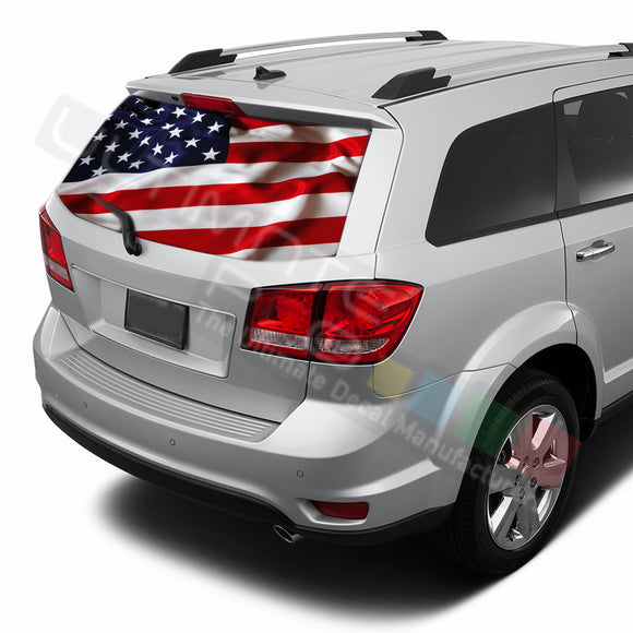 USA Flag graphics Perforated Decals Dodge Dart 2015 - Present