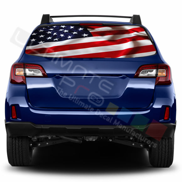 USA Flag Perforated Decals stickers compatible with Subaru Outback