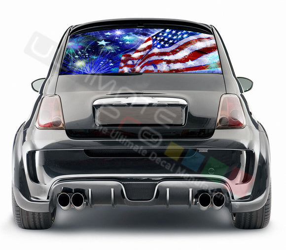 4th July graphics Perforated Decals Fiat 500 Abarth 2007 - Present