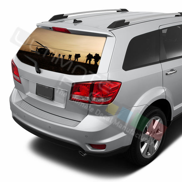 Army graphics Perforated Decals Dodge Journey 2009 - Present