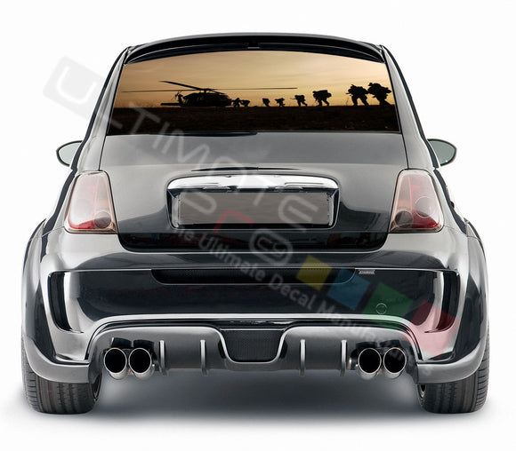 Army graphics Perforated Decals Fiat 500 Abarth 2007 - Present