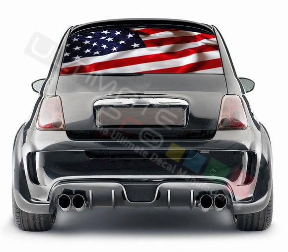USA Flag graphics Perforated Decals Fiat 500 Abarth 2007 - Present