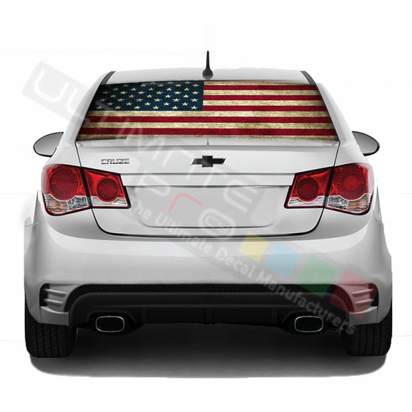 Flag USA Perforated decal Chevrolet Cruz graphics vinyl 2009 - Present