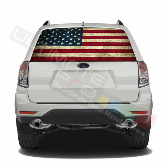 USA Flag 1 graphics Perforated Decals Subaru Forester 2012 - Present