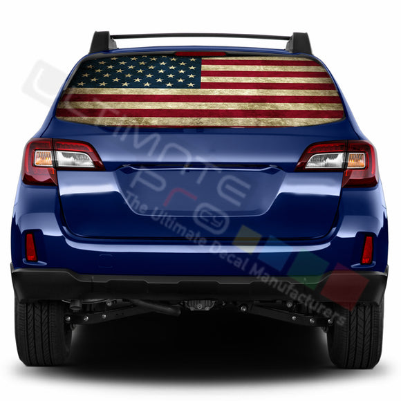 USA Flag 1 Perforated Decals stickers compatible with Subaru Outback