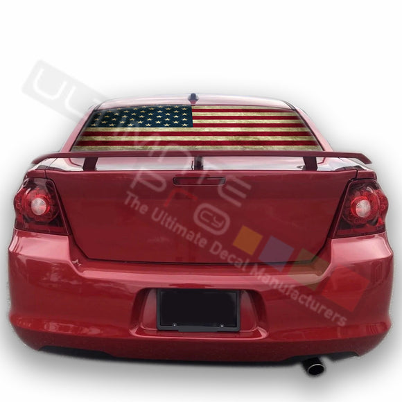 USA Flag 1 graphics Perforated Decals Dodge Avenger 2007 - Present