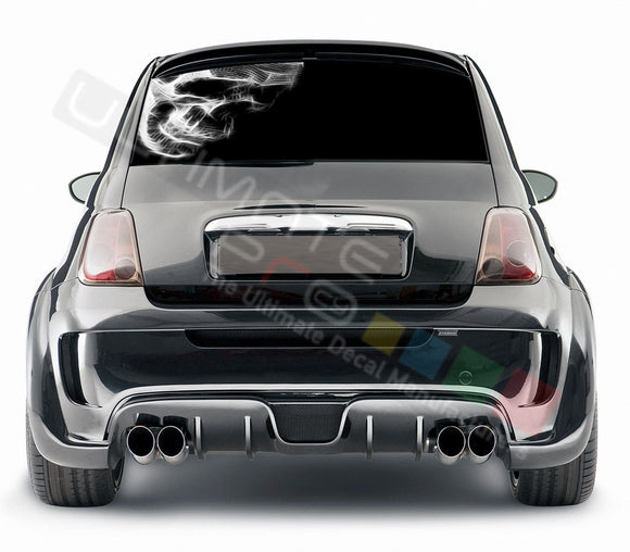 Skull 1 graphics Perforated Decals Fiat 500 Abarth 2007 - Present