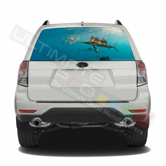 Fishing graphics Perforated Decals Subaru Forester 2012 - Present