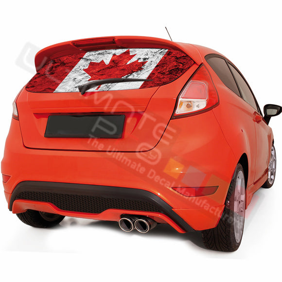 Canada graphics Perforated Decals Ford Fiesta 2008-Present